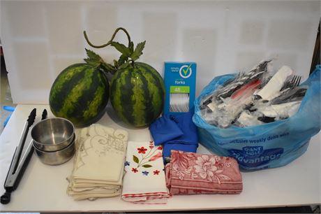 Bag of plasticware/linen napkins/decorative mini watermelons