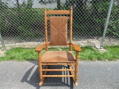 """Large 48"""" Heavy Oak Premium Shaker Rocker Chair w/ Rope Seat & Bask"""