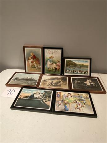Eight Antique Framed Postcards