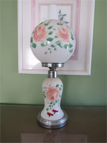 Hand Painted Hurricane Lamp, electric