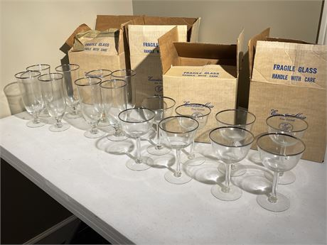 Sixteen Executive House Fine Crystal Glasses in Original Boxes