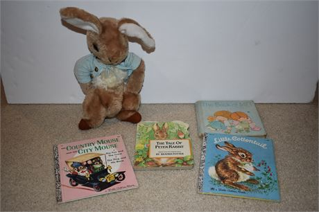 Vintage Peter Cottontail toy and lot of Golden Books/etc