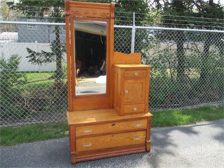 "Antique Oak 79"" Tall Dressing Vanity Mirrored Dresser Table"