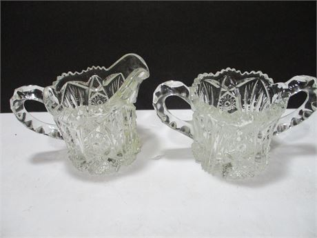 Vintage Mid Century Pressed Pattern Glass Cream & Sugar Bowl Set