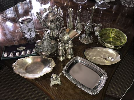 Large Lot of Silver Plated and Pewter Items (1 with Vaseline Glass)