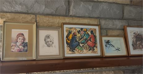 Large Lot Of Various Framed Pictures