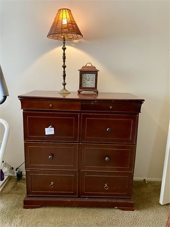 Bombay Company Sheraton Style Dresser with Lamp and Clock Lot
