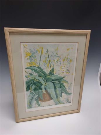 Signed and Numbered Hand Colored Lithograph In Frame