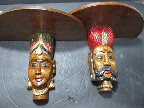 "Pair Vintage African Native Art Sculpture Head 12"" Shelves"