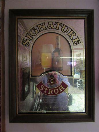 Stroh Signature Mirror Beer Sign