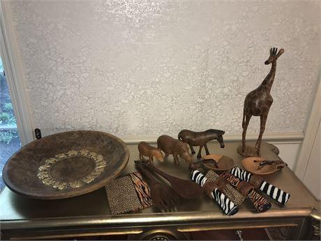 Kenyan Carved Animals and Kitchen Set