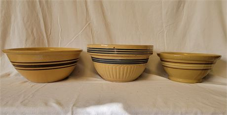 3 Pottery Mixing Bowls Vintage