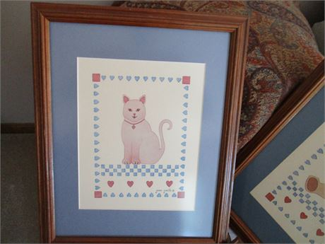 Genuine Jean Smith Child's Room Stenciled Pussy Cat Picture