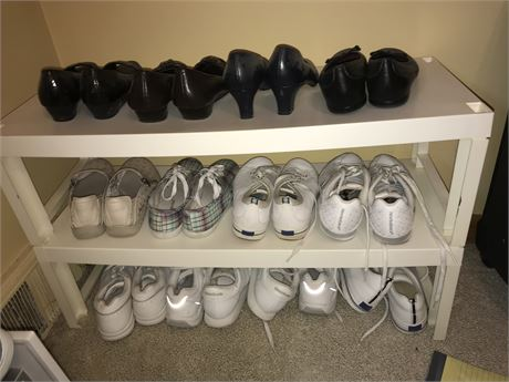 Shoes and Sneakers Lot with Racks