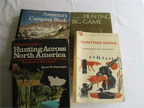 4 Sportsman Books 60-70's Hunting Camping Big Game & Hunting Dogs