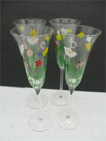 Vintage 4 Pieces Hand Painted Summer Stemmed Wine Glasses