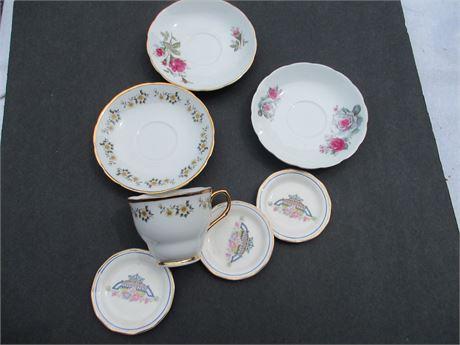 Vintage Fine China Tea Cup & Saucer w 4 Misc Pieces Lot