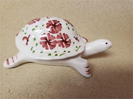 Vintage Pancer  Porcelain Turtle Trinket Box