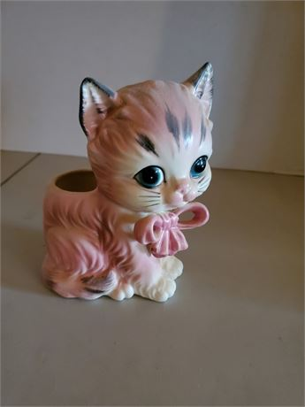 Vintage Lefton Pink Cat Planter