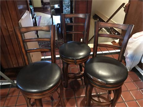 Set of 3 Swivel Stools with Damage as Shown