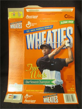 New Opened Flat Tiger Woods Golf Wheaties Cereal Box