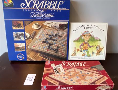Vintage Games Lot Including Scrabble and Hunting and Fishing Trivia