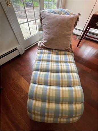 Vintage Cushioned Plaid Settee