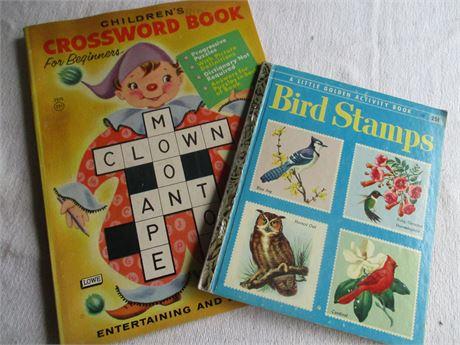 Vintage Children's New Crossword & Bird Stamp Books