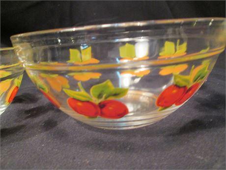"2 New Vintage 50-60's Cherry Design Glass 5"" Serving Bowls"