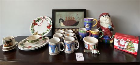 Miscellaneous Christmas Home Decor and Dishes Lot