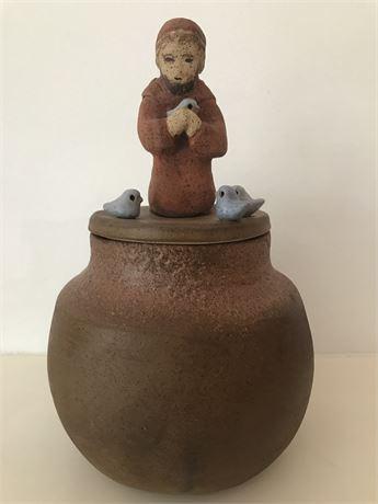 Florence Gordon St Francis Fired Clay Jar