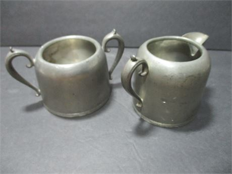 """Vintage 2 Pieces Pewter Marked 2 1/2"""" Cup & Creamer Set"""