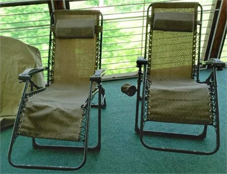 Lounge Chairs - Set of 2 - Canvas & Metal