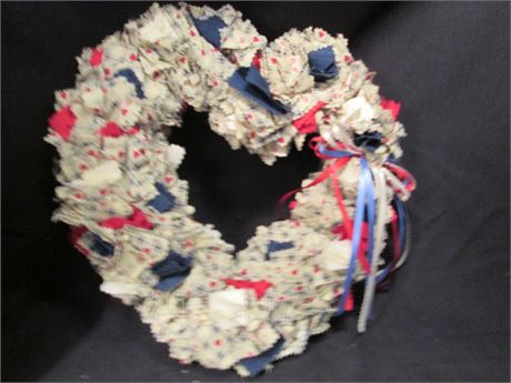 """Vintage 13""""  Red White & Blue Cotton Hand Crafted Heart Wreath"""