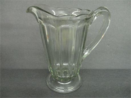 """Vintage 8"""" Old Glass Water Pitcher Plain Pour Spout"""