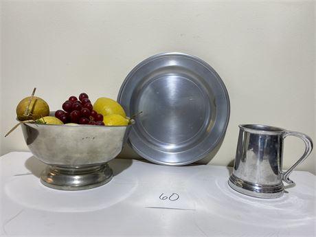 Pewter Items Lots - Plate, Bowl, Mug