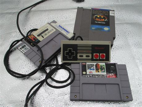 Vintage  3 Nintendo Games and controller Lot