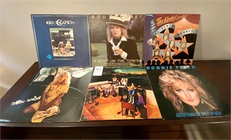 Vintage Vinyl Records Including Eric Clapton, Rod Stewart, The Kinks, and More