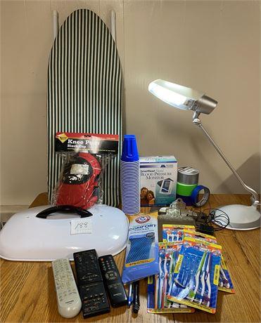 Miscellaneous Lot w/ Blood Pressure Monitor, Table Lamp, NIP Knee Pads
