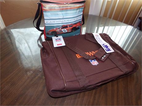 Proline Browns Duffle Bag With Tags and Earnhardt Jr. Insulated Bag