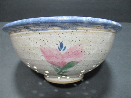 Vintage Heavy Country Pottery Strainer Bowl Colander