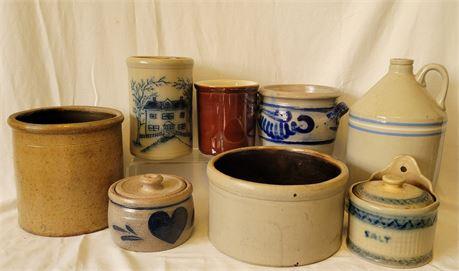 8 Pottery Crocks, Jugs, More