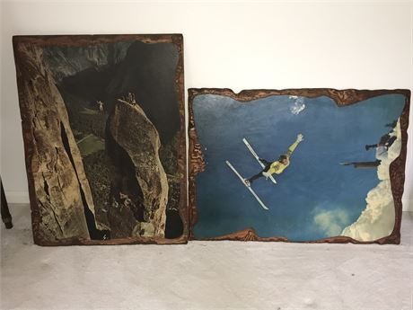 Two Decoupage Photos on Wood