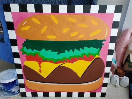 Really Big Cheeseburger Painting on Canvas