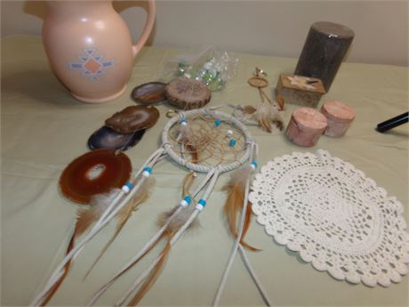 Pitcher, Wind Chime, Dream Catchers, and Containers