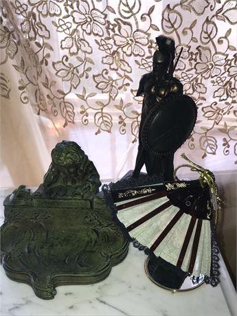 Decorative Lot - Knight Statue, Faux Inkwell & Fan