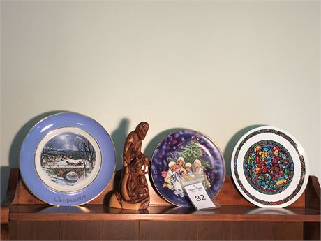 Three Porcelain Nativity Plates and Carved Olive Wood Statue of Holy Family