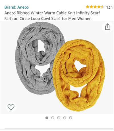 2 knitted infinity scarves. Yellow and Grey.
