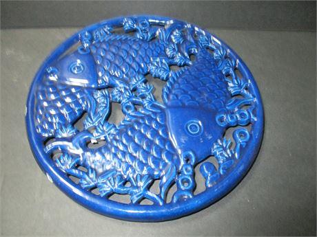 "Vintage 8"" Round Cobalt Oriental  Blue Fish design Trivet"