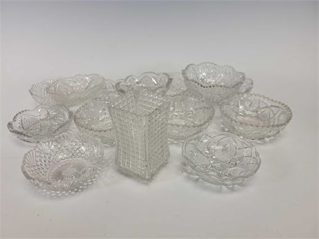 Pressed Glass Dishes Bowls and Vase Group Lot